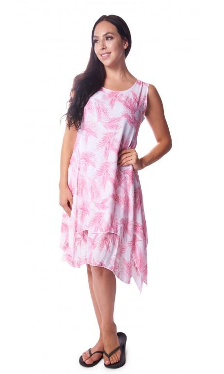 Robe Blanche plumes rosé imitation Lin