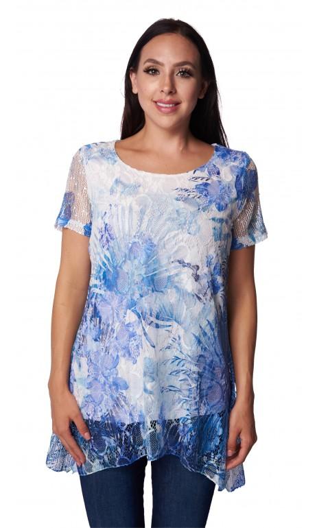 Tunique dentelle fleuris bleuté