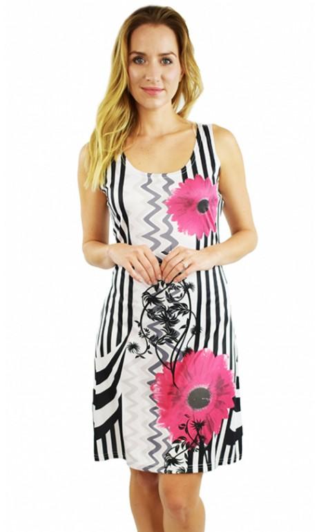 Robe soleil imprimé moderne fleurs Rose