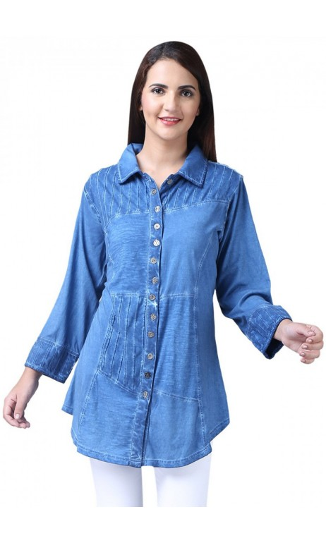 Chemise style jeans bleu Joana