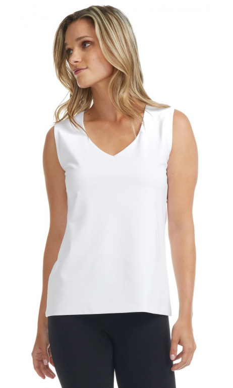 Camisole white V-neck doubled at the front Modes Gitane