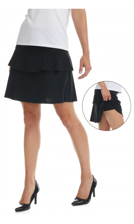 Jupe culotte uni Noir Modes Gitane prêt a porter