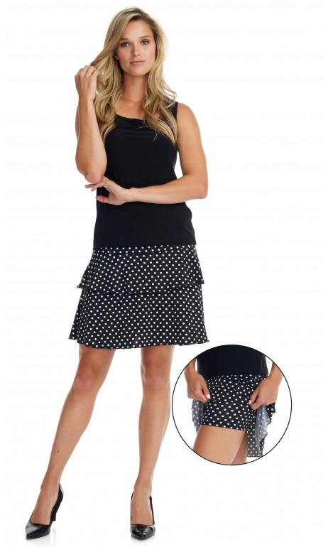 Petite jupe culotte Noir a pois Blanc Mode Gitane
