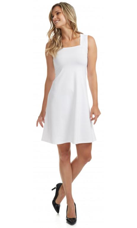 Robe uni Blanche col carré Mode Gitane