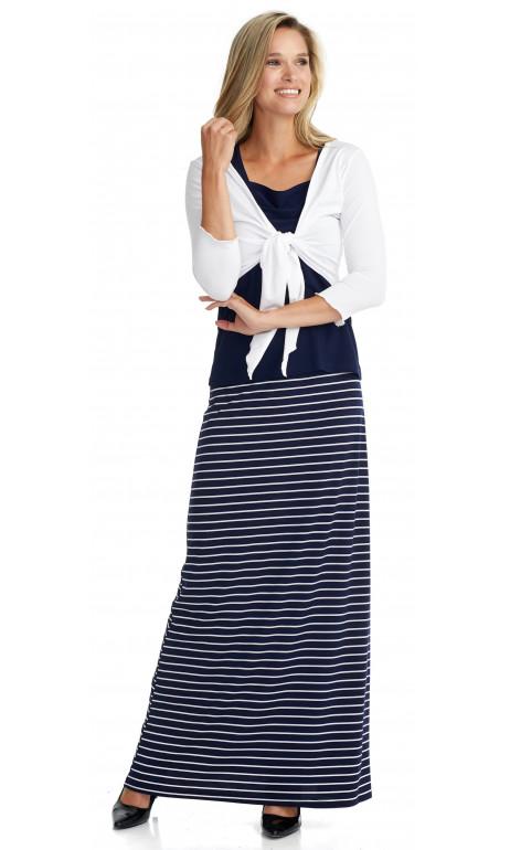 Jupe longue collection Mode Gitane lignée marine et blanche