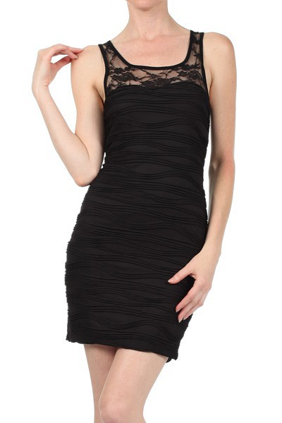 b15ddcad1b Little Textured black dress - Boutique Isla Mona Canada