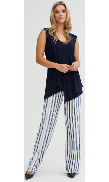 Pantalon droit imprimé ligné