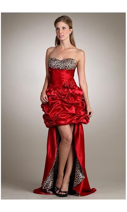 robe courte en satin rouge et léopard avec jupe amovible