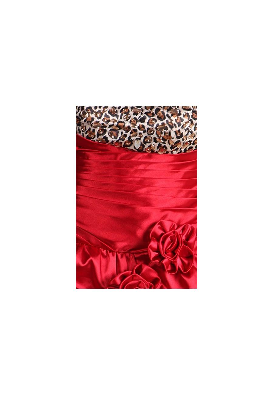 robe courte en satin rouge et l opard avec jupe amovible. Black Bedroom Furniture Sets. Home Design Ideas