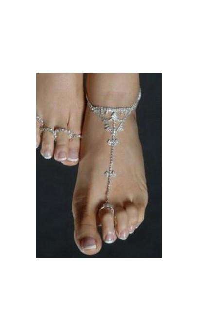 Bijoux de pied avec bague en rhinestone