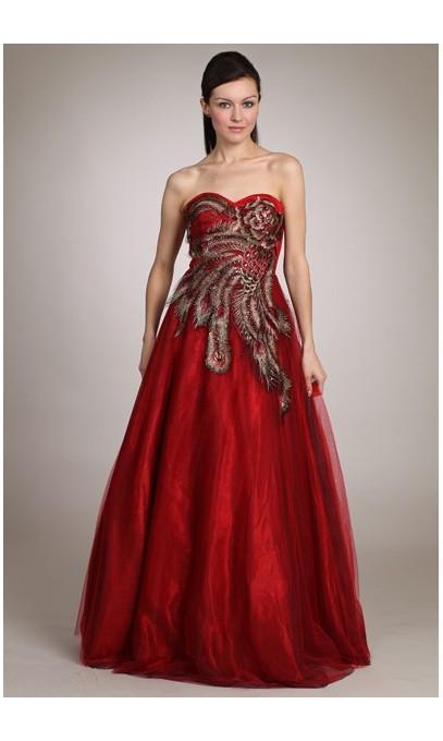Robe de soirée ou de bal rouge et noir avec appliqué de dentelle paon