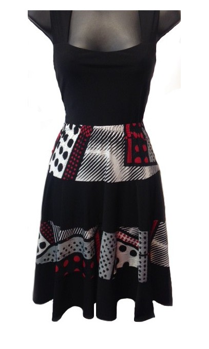 Short skirt with frills black and red Modes Gitane