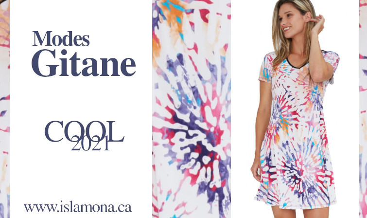 Dress with joyful color print made in Canada