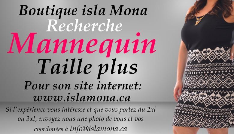 Boutique isla Mona recherche une mannequin taille plus pour photos du site internet